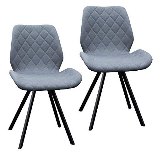 2er Set Esszimmerstuhl Polsterstuhl Stuhl Küchen-Stuhl grau Dunkelgrau Hellgrau Stoff Metall-Beine Retro gesteppt (Dunkelgrau)