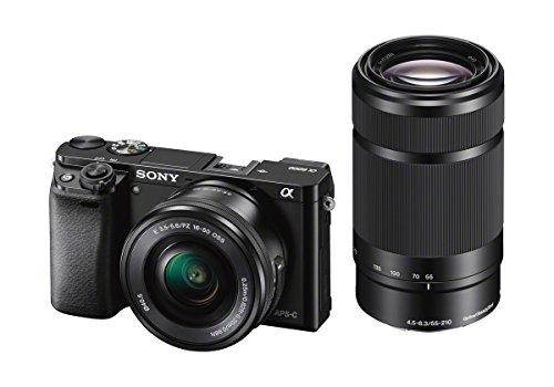 sony alpha 6000y | kit fotocamera digitale mirrorless con obiettivi intercambiabili selp 16-50mm + sel 55-210mm, sensore aps-c, video avchd, eye af, ilce6000b + selp1650 + sel55210, nero