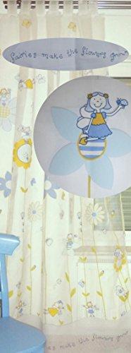 Heimtexland tenda trasparente con passanti, colore: celeste e giallo, hxl: 260 x 140 cm, accorciabile, per cameretta, motivo: fiori/principesse/fate, ottima qualitàpronta all'uso! mod. 178