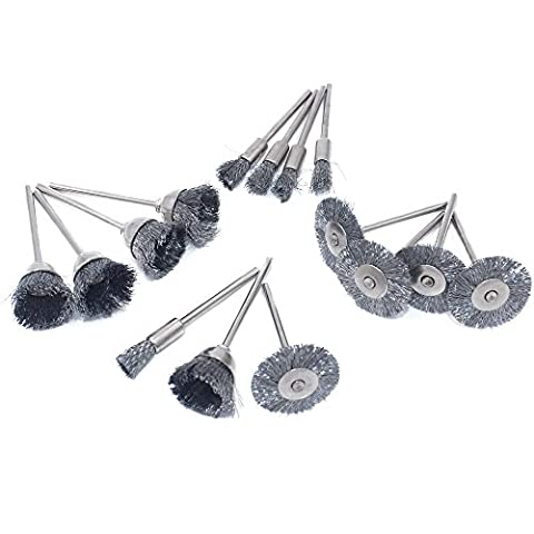 Cnmade Brosse de roue de fil d'acier polissage abrasifs de coupe brosses pour outils rotatifs Dremel Grinder 2.35mm 15pcs