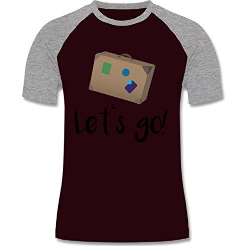 Länder - Reiselust - zweifarbiges Baseballshirt für Männer Burgundrot/Grau meliert