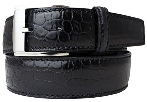 Gürtel mit Krokoprägung 4,0 cm Kroko-Prägung Hochwertig Krokodil-Muster Reptil-Prägung Ledergürtel Gurt Jeans 40mm, Bundweite 95, Schwarz, Silber (Snake Print Schnalle)