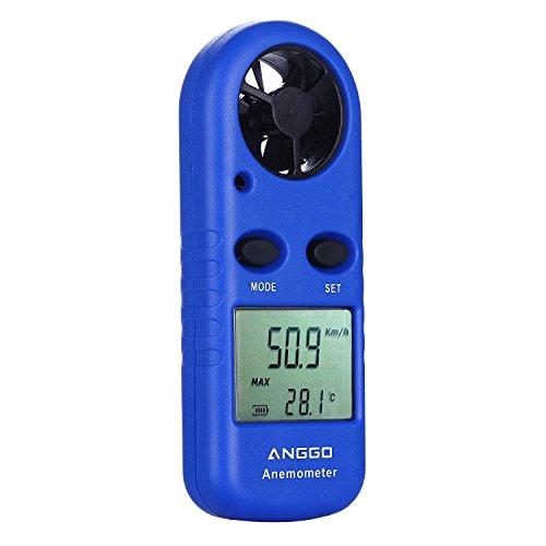 ANGGO Tragbar Handheld Digital Wind Speed Geschwindigkeit Anemometer mit Thermometer