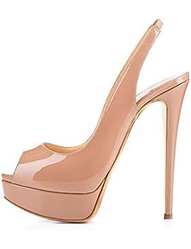 Onlymaker Damen Sandalen High Heels Slingback Stiletto Peep Toe Pumps Glitzer Party