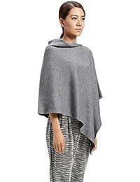 Prettystern - Poncho 100% laine cape solide couleur femme douce et chaude - sélection des couleurs