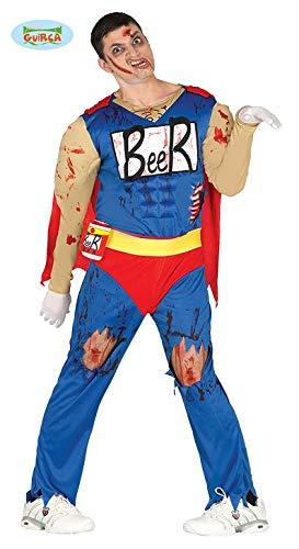 Superhelden Zombies Kostüm - Beerman Superheld Zombie Halloween Kostüm Kostüm für Herren Bier blutig blau rot Cape Muskeln Gr. M/L, Größe:L
