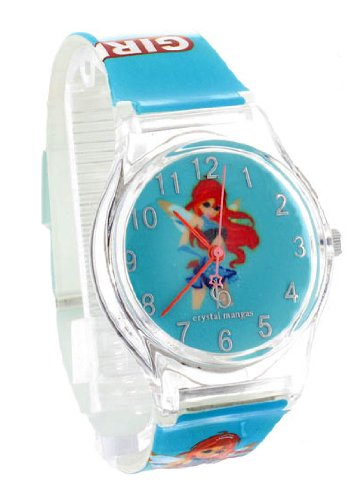 Crystal blue Kinder-Armbanduhr Anime Manga Girl Analog Quarz rosa ()