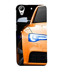 99Sublimation Stylish Yellow Car 3D Hard Polycarbonate Back Case Cover for HTC Desire 728