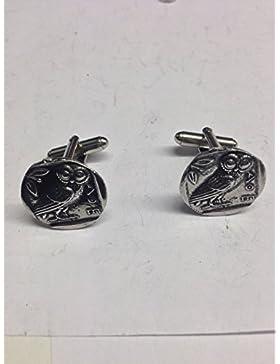 Coin we-gckr Griechische Eule Englisch Zinn Manschettenknöpfe