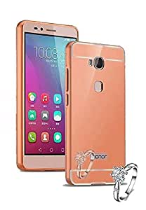 Aart Luxury Metal Bumper + Acrylic Mirror Back Cover Case For Honor5 - X RoseGold+ Flexible Portable Mount Cradle Thumb OK Designed Stand Holder