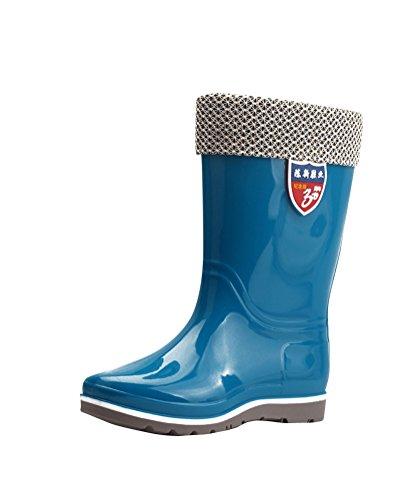 Donna Stivali Di Gomma Al Ginocchio Impermeabile Stivali Di Pioggia Neve Giardino Blu