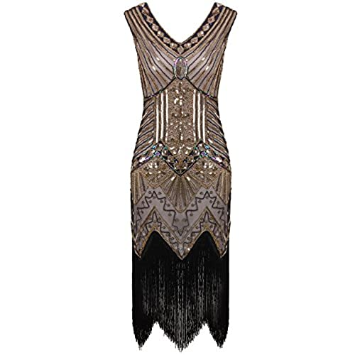 Vikoros Women's Cocktail Evening Dress Label M/ UK10-12/ EU38-40 Glam Gold