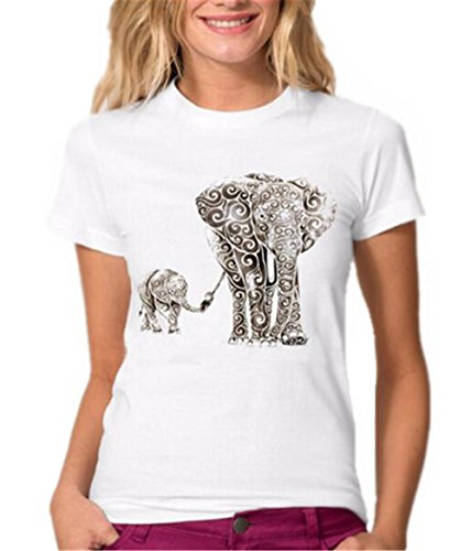 BESTHOO T Shirt Sommer Damen Rundhals Kurzarm Oberteile College Basic T Shirt Elefanten Gedruckte Top Beiläufige Oberteile Klassisch T Shirt