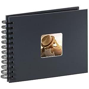 Hama Foto/Spiralalbum (50 schwarze Seiten, 25 Blatt, Größe 24 x 17 cm, mit Ausschnitt für Bildeinschub) grau