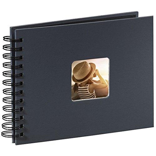 Preisvergleich Produktbild Hama Foto/Spiralalbum (50 schwarze Seiten, 25 Blatt, Größe 24 x 17 cm, mit Ausschnitt für Bildeinschub) grau
