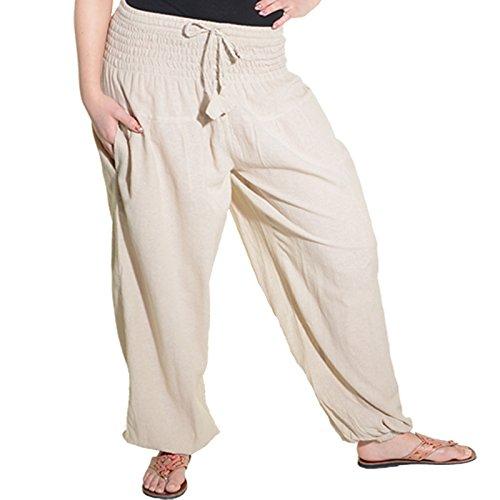 Kunst und Magie Damen Pluderhose Haremshose Sommerhose Hippie Goa Wellness Yoga, Größe:42-44(XXL), Farbe:Hanffarben