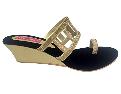 N Step, da donna, per abiti da donna, Khussa Jutti Salwar Kameez scarpe Gold