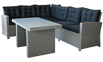 KMH®, 2-teilige Gartensitzgruppe Lounge Esstisch Sofa (grau) (inklusive Auflagen und Kissen) (#106117)