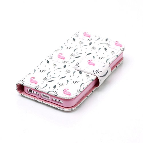 iPhone SE Coque,iPhone 5S Case,iPhone 5 Étui - Felfy Flip Book Style Luxe PU Wallet Étui en cuir PU de Première Qualité Avec Coverture Toute-Puissante Coque Magnetic Closure Fashion Cas Coque Bumper Housse Etui pour Apple iPhone SE/5S/5 (Flamingos Cas) + 1 x Rose Touch Stylus + 1 x Rose Fleur Dust Plug