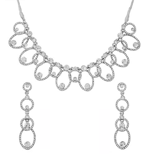 Touchstone Hollywood Glamour Austrian crystals wedding evening jewelry necklace in silver tone for women (Touchstone Crystal Schmuck)