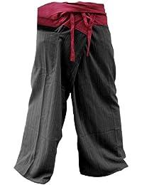 NICE 2tons Pêcheur Thaï Pantalons yogatrousers Taille Plus Taille en coton à rayures Rouge et rustique Gris anthracite