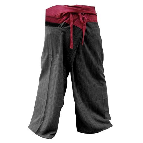 08c0726b6 2 tono tailandés Pantalones Pescador agradable YogaTrousers tamaño libre  más tamaño rústico rayado algodón taladro rojo