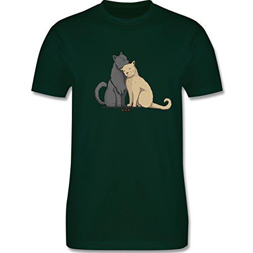 Shirtracer Katzen - Kuschelnde Katzen - Herren T-Shirt Rundhals Dunkelgrün
