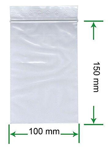 HeiZip 1000 x Druckverschlußbeutel 100 x 150 mm, 90 mµ/MY (extra stark), Transparent, Unbedruckt mit PE-Logo in der Fahne
