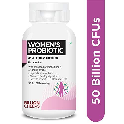 BILLIONCHEERS Probiotics for women, 50 billion CFU probiotics supplement with Cranberry Extract for Vaginal Health, UTI support and Immunity - 60 Vegetarian Probiotic capsules