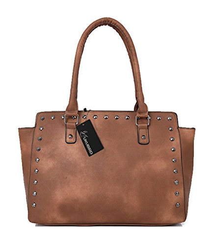 Kukubird Yumi Ecopelle Versatile Design Con Borchie Top-manico Spalla Tote Handbag Yellow Brown