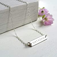 Personalised Sterling Silver Little Name Bar Necklace, name necklace, birthday gift, anniversary gift, Mother's Day gift, bridesmaid gift