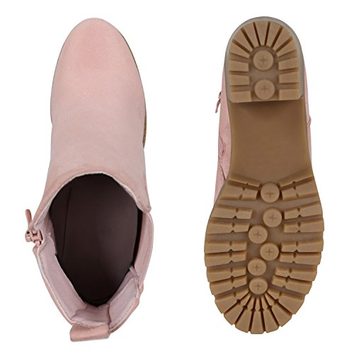 Damen Stiefeletten Chelsea Boots Blockabsatz Profilsohle Schuhe Rosa Velours