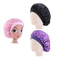 Lurrose Toddler Silk Sleep Night Cap Head Cover Bonnet Hair Beauty Headscarf for Children 3pcs