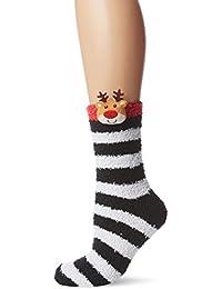 The Christmas Workshop Women's Reindeer Slipper Socks, Black, One Size