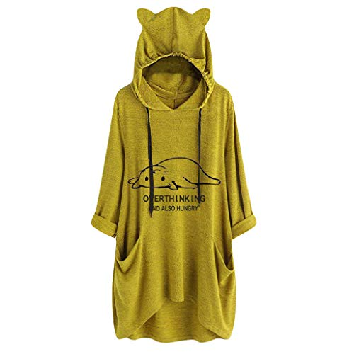 Casual Sweatshirt Damen mit Cat Ear Drucken,Oversize Kapuzenpullover Lang mit Kapuze Hoodie Oberteile Langarm Pocket Irregular Tops Bluse Shirt URIBAKY