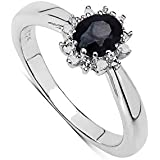 The Sapphire Ring Collection: Beautiful Sterling Silver Oval Saphire & Diamond Cluster Engagement Ring, Mother's Day Gift, Ring Size H,I,J,K,L,M,N,O,P,Q,R,S,T,U,V