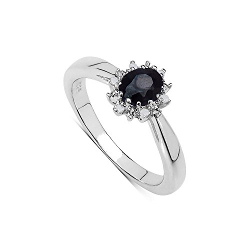The Sapphire Ring Collection Sterling-Silber 925 ovaler Saphir Diamant-Cluster