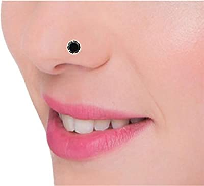 PeenZone 92.5 sterling silver black nose pin for women