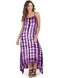 69a0ce6482e Vibrant Ladies 100% Cotton Tropical Strappy Maxi Beach Holiday Dress