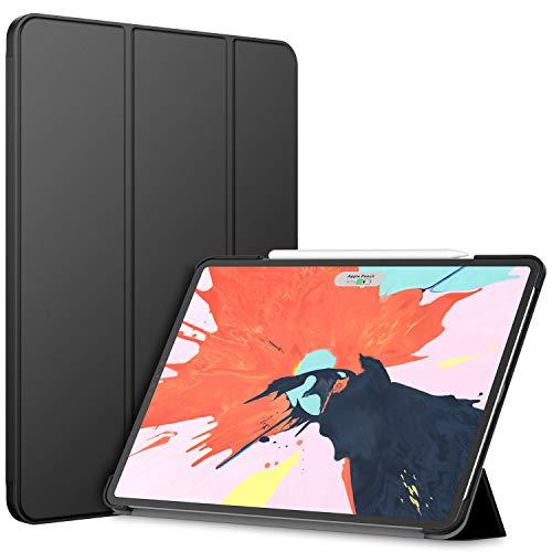 JETech Hülle für iPad Pro 12,9 Zoll (2018 Modell, 3.Generation), Veröffentlichung Kante zu Kante Liquid Retina Display, Kompatibel mit Apple Pencil, Intelligent Abdeckung Schlafen/Wachen, Schwarz