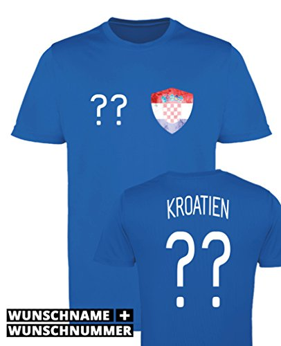 Comedy-Shirts Kroatien Trikot - Wappen: Klein - Wunsch - Herren Trikot - Royalblau/Weiss Gr. L