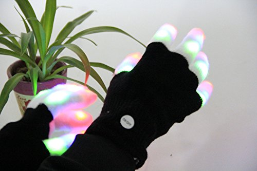 Tritechnox #1 Premium LED Lighting Gloves, Flashing fingers emazing lights, Rave gloves, colorful party dance gloves, Birthday, EDM, Disco, Dubstep party, 6 light flashing modes (Black - lighting fingers)