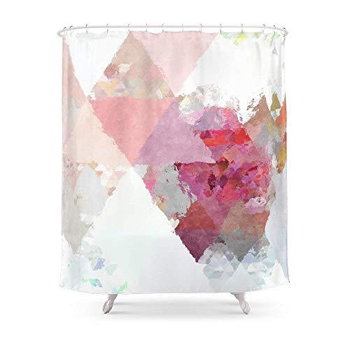 Suminla-Home Badezimmer Pink Weiß mit Rotgold-Finish Triangle Muster Duschvorhang 182,9cm von 182,9cm - Duschvorhang Grau Mit Rüschen