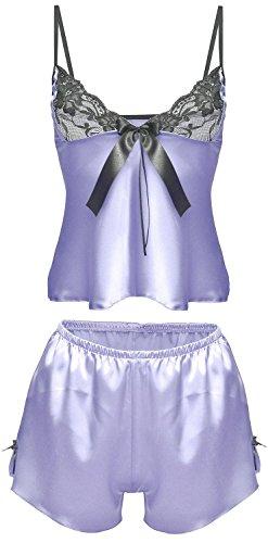 DKaren MONIC Damen Nachtwäsche Wäsche-Set aus Satin (S-XXL) Blau