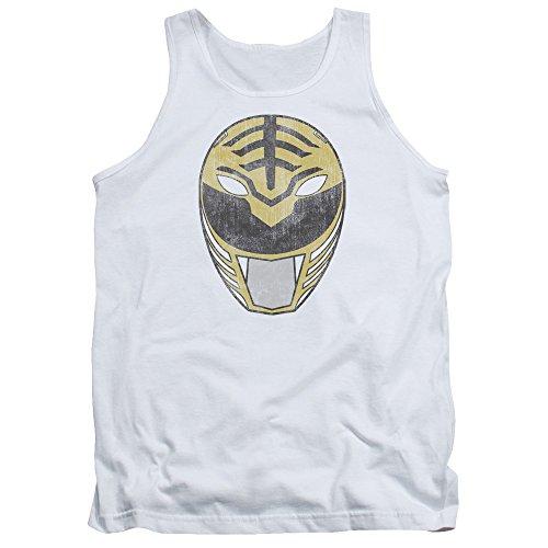 Power Rangers - - White Ranger Hommes Masque Débardeur, Small, White