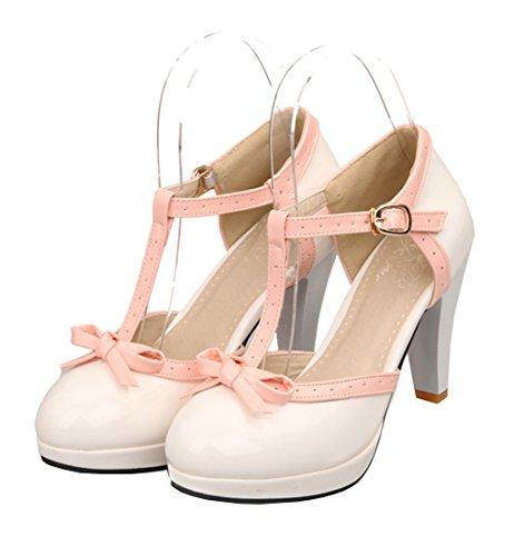 YE Damen T Spangen Lack Pumps Blockabsatz High Heels Plateau mit Schnalle und Schleife Süß 8cm Absatz Schuhe Weiß