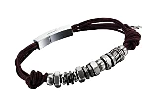 Police Element Leather and Stainless Steel Bracelet 20cm
