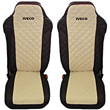 Truck Seat Covers Black and Beige Iveco Stralis