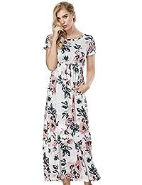 HUHHRRY Vestido Largo de Moda Mujer Para Fiesta o Casual Manga Corta Top Ropa Floral Print Falda Estampada Redondo Cuello de Verano