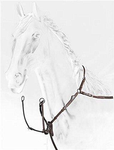 Equiline Vorderzeug Breastplate with Double Regulation Leder, braun, mit silbernem Emblem, Größe Pferd:Cob - Emblem Aus Leder
